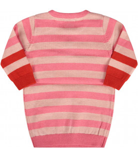Pink babygirl striped dress with logo