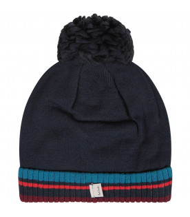 PAUL SMITH JUNIOR Blue boy hat with colorful dinosau