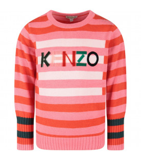 KENZO KIDS Pink and red babygirl sweater with logo