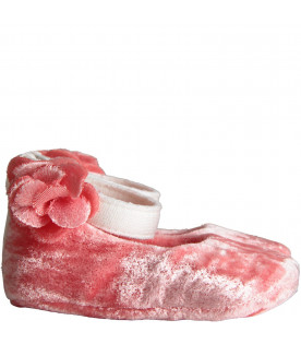 Pink flat for baby girl shoes with flower