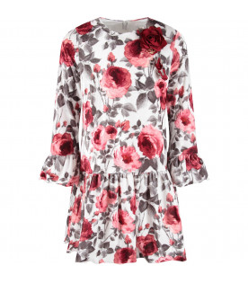 White babygirl dress with red roses