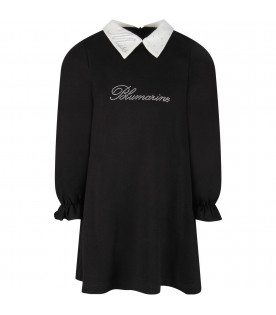BLUMARINE BABY Black girl dress with rhinestoned logo