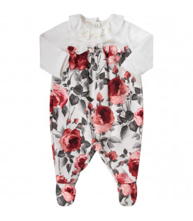 BLUMARINE BABY White babygirl babygrow with red roses