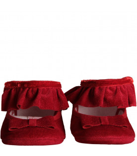 BLUMARINE BABY Red babygirl flat shoes with ruffle