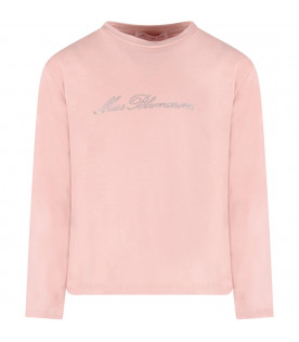 BLUMARINE BABY Pink girl T-shirt with rhinestoned logo