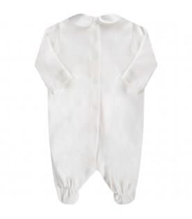 BLUMARINE BABY White babygirl babygrow with embroidered logo