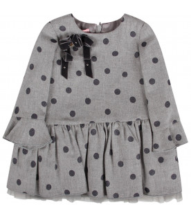 Grey babygirl dress all-over polka-dots