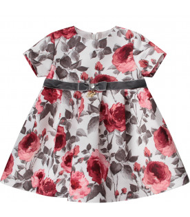 BLUMARINE BABY White babygirl dress with red roses