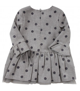 Grey dress for baby girl all-over polka-dots