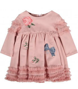 Pink dress for baby girl colorful flowers and bows