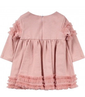 Pink babygirl dress colorful flowers and bows