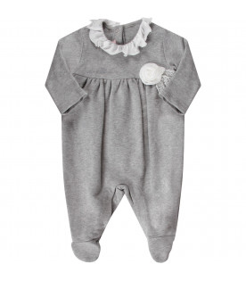 BLUMARINE BABY Grey babygirl babygrow with embroidered logo