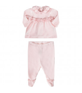 BLUMARINE BABY Pink babygirl suite with silver polka-dots