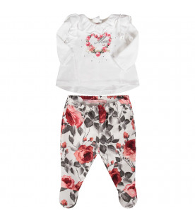 BLUMARINE BABY White babygirl suite with red roses