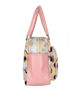Multicolor changing bag with colorful brand's iconic print