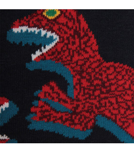 PAUL SMITH JUNIOR Blue boy scarf with colorful dinosaus
