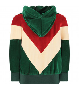 GUCCI KIDS Green, ivory and red girl sweatshirt with logo