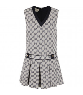 GUCCI KIDS Grey girl dress with blue double GG