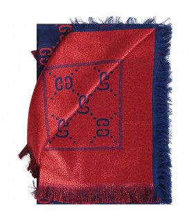 GUCCI KIDS Blue and red girl scarf with GG