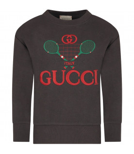 GUCCI KIDS Grey boy sweatshirt with red double GG