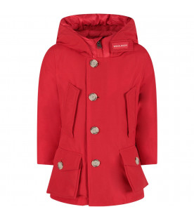 Red boy artic parka with logo