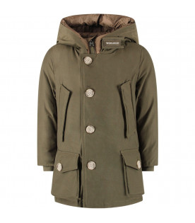 WOOLRICH KIDS Military green boy artic parka with logo