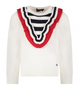 TRUSSARDI JUNIOR Ivory girl sweater with ruffle