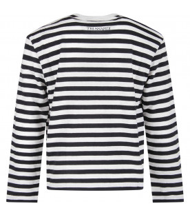 TRUSSARDI JUNIOR Blue and white girl T-shirt