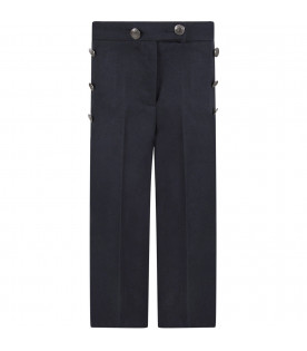 Blue girl pants with brand's buttons