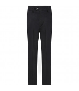 TRUSSARDI JUNIOR Blue boy pants with black logo