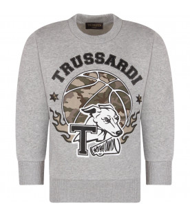 TRUSSARDI JUNIOR Grey boy sweatshirt with black logo