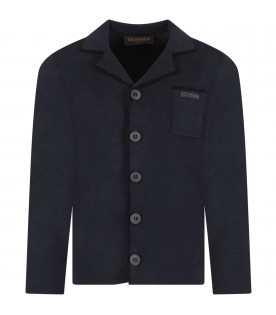 Blue boy cardigan with black logo