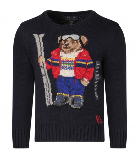 RALPH LAUREN KIDS Blue boy sweater with colorful bear