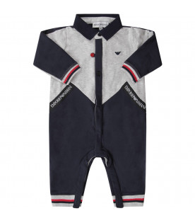 Grey and blue babyboy babygrow with white logo