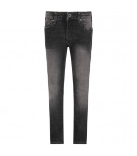 ARMANI JUNIOR Grey boy jeans with metallic eagle