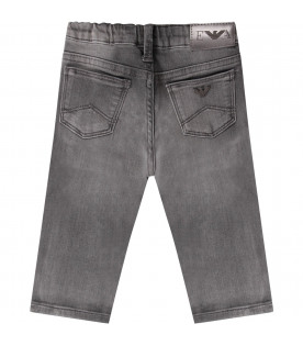 Grey babyboy pant with metallic logo