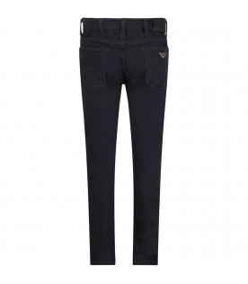ARMANI JUNIOR Denim blue boy jeans with metallic eagle