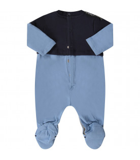 Blue and light blue babyboy babygrow with colorful rabbit