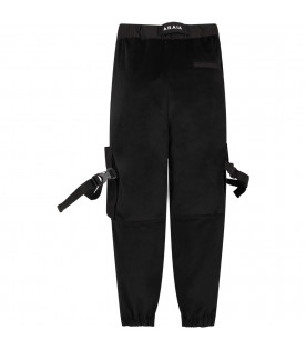 CINZIA ARAIA Black boy pants with white logo