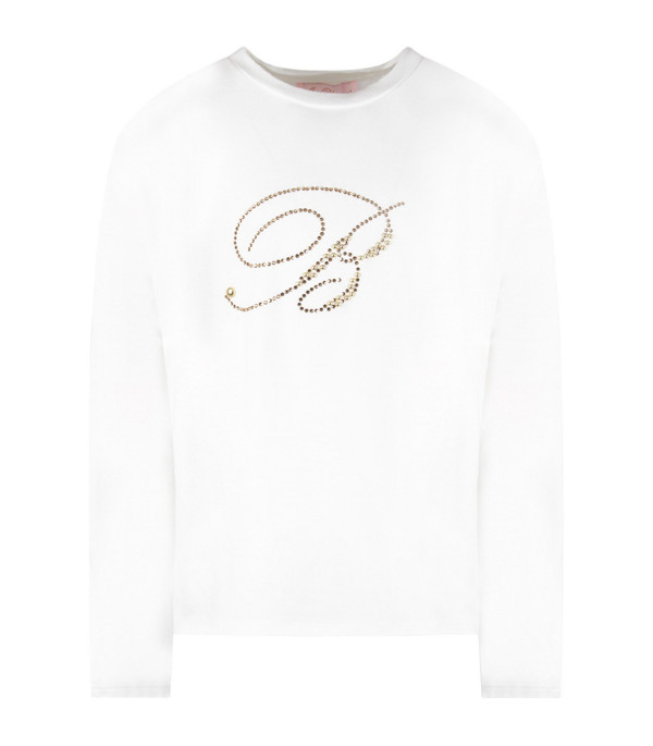 BLUMARINE BABY White girl T-shirt with gold logo