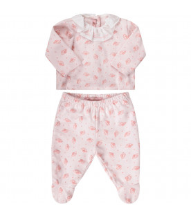BLUMARINE BABY Pink babygirl suite with all-over logo