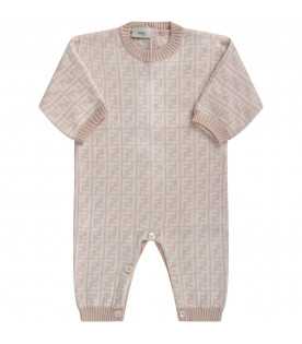 Beige kids babygrow with double FF