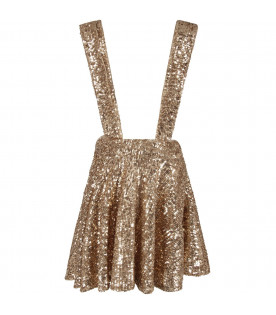 LE GEMELLINE BY FELEPPA Gold girl ''Stella'' skirt with sequins