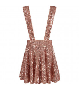 Pink girl ''Stella'' skirt with sequins