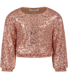 Pink girl ''Anna'' sweater with sequins