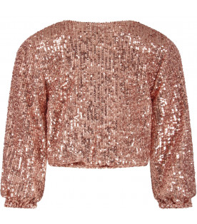 LE GEMELLINE BY FELEPPA Pink girl ''Anna'' sweater with sequins