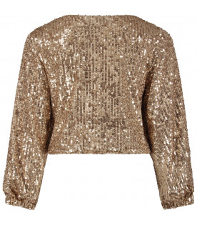 LE GEMELLINE BY FELEPPA Gold girl ''Anna'' sweatshirt with sequins