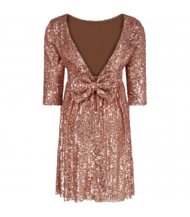 LE GEMELLINE BY FELEPPA Pink girl ''Elsa'' dress with sequins