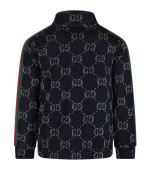 Gucci Kids Blue girl sweatshirt with silver lurex double GG