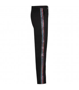 Black girl pants with stripes